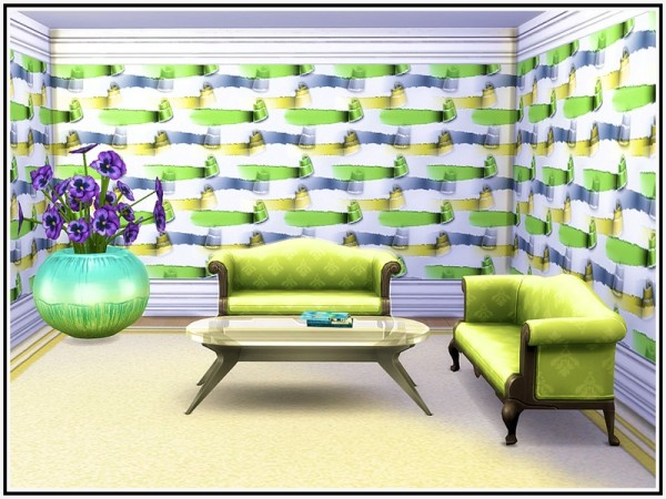 The Sims Resource: Rolled Ribbons Walls by marcorse