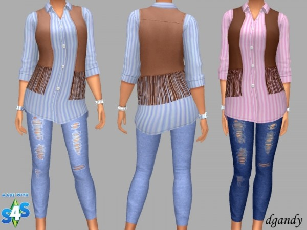 The Sims Resource: Vest, Shirt and Jeggings by dgandy