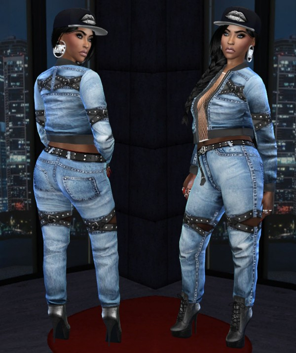 Fusion Style: Denim outfit with leather straps by Sviatlana