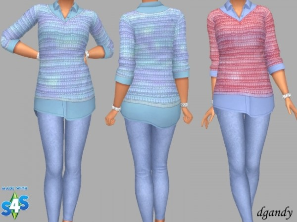 The Sims Resource: Shirt, Sweater and Jeggings II Without Rips by dgandy