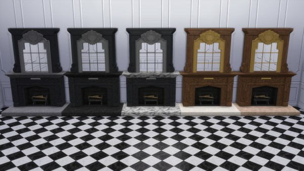 Mod The Sims: Dark Lux Fireplace with Mirror by TheJim07