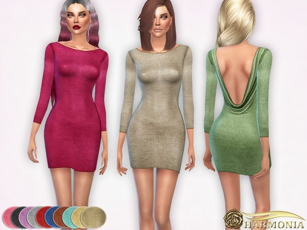 The Sims Resource: Deep Open back Metallic Dress by Harmonia