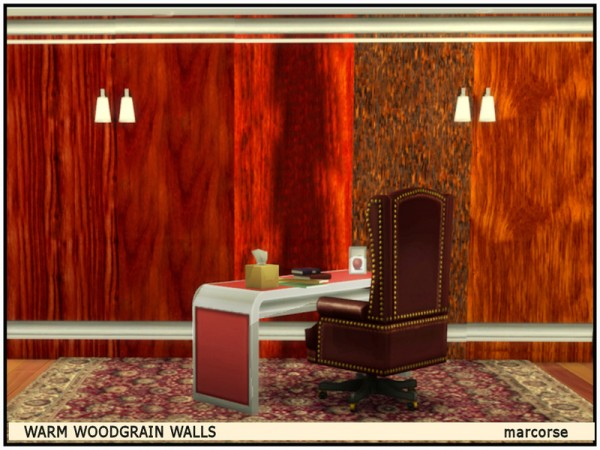 The Sims Resource: Warm Woodgrain Walls by marcorse