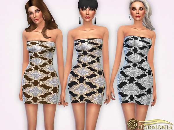 The Sims Resource: Straight Neck Baroque Sequin Bodycon Dress by Harmonia