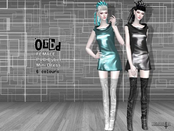 The Sims Resource: ORBD PVC Cyber Goth Mini Dress by Helsoseira