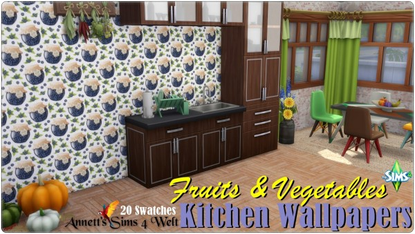 Annett`s Sims 4 Welt: Kitchen Wallpapers Fruits and Vegetables