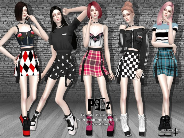 The Sims Resource: PSKZ   Mini Skirt with Belts by Helsoseira