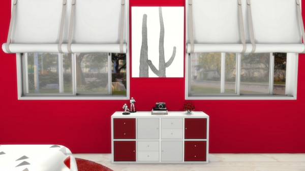 Models Sims 4: Red and White Bedroom