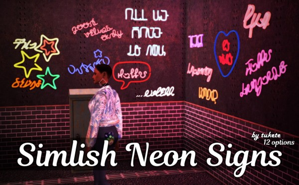 Tukete Simlish Neon Signs Sims 4 Downloads