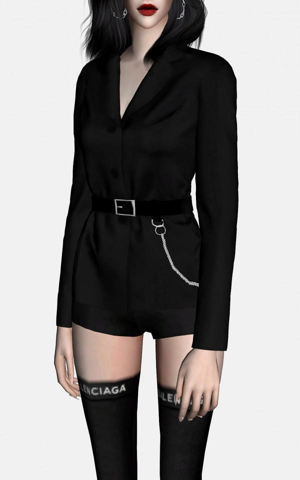 Rona Sims Belted Single Jacket Set Sims 4 Downloads
