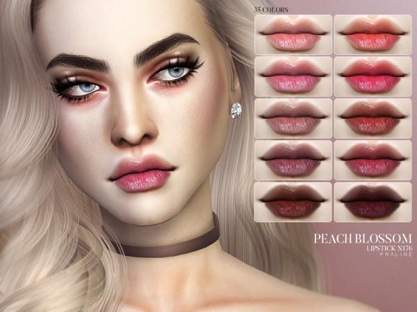 The Sims Resource: Peach Blossom Lipstick N176 by Pralinesims