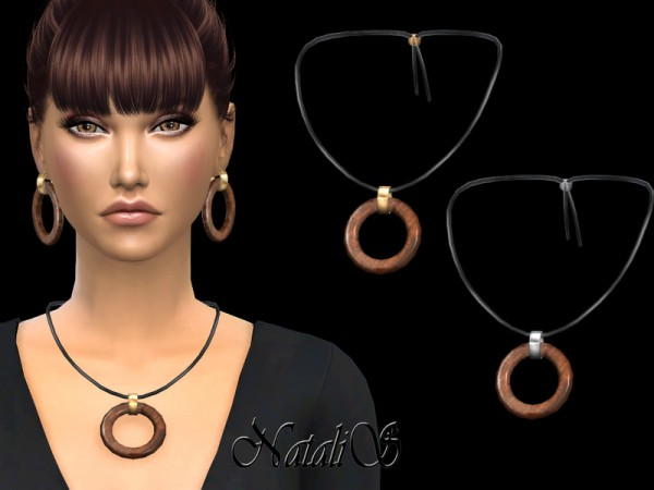 The Sims Resource: Wood hoop pendant necklace by NataliS