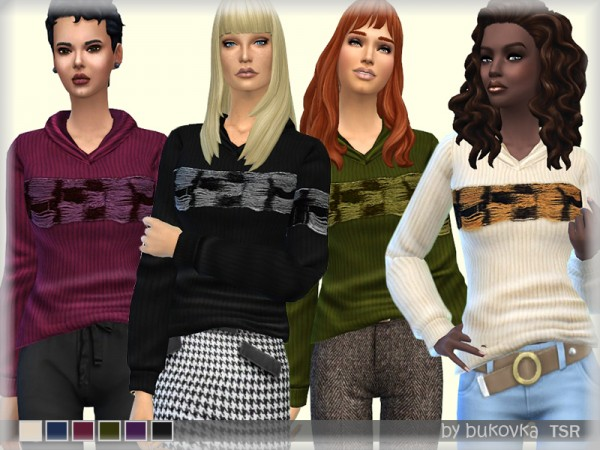 The Sims Resource: Knitted Sweatshirt by bukovka