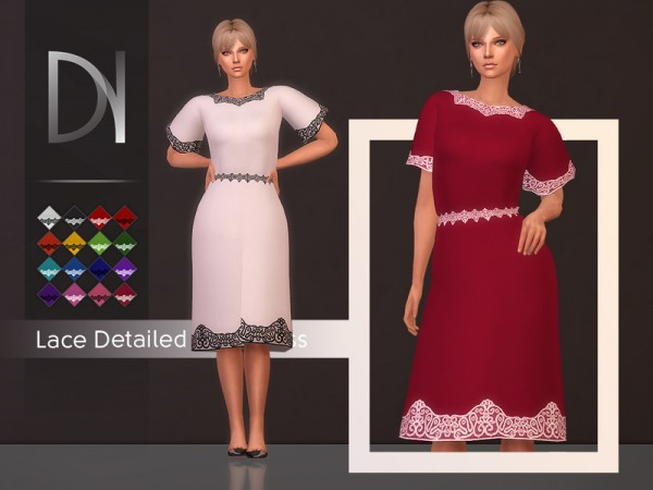 The Sims Resource: Lace Detailed Midi Dress by DarkNighTt