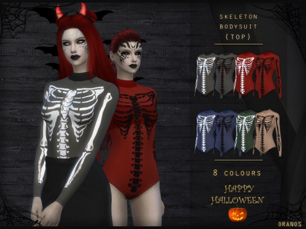 The Sims Resource: Skeleton Bodysuit Top by OranosTR