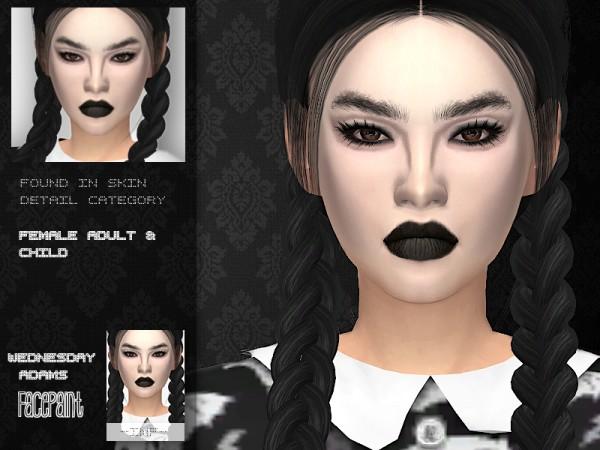 The Sims Resource: Wednesday Adams Facepaint by IzzieMcFire