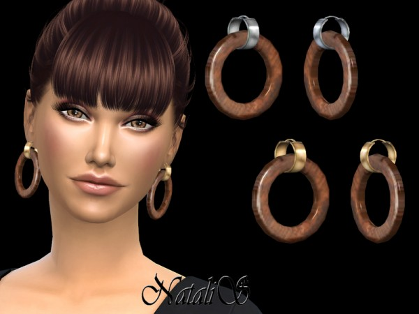 The Sims Resource: Wood hoop earrings by NataliS