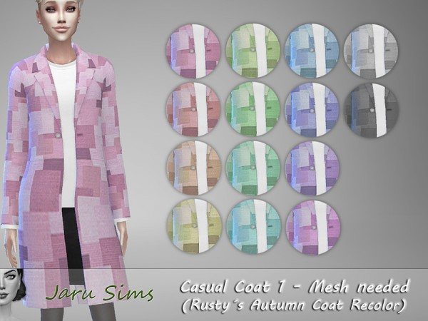 The Sims Resource: Casual Coat 1   Rustys Autumn Coat Recoled by Jaru Sims
