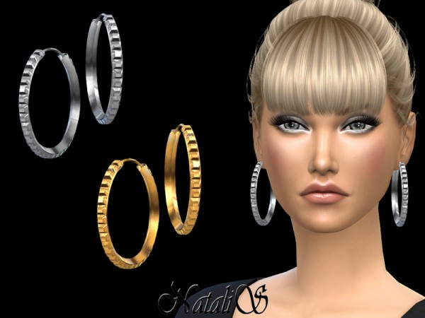 The Sims Resource: Square studs hoop earrings by NataliS