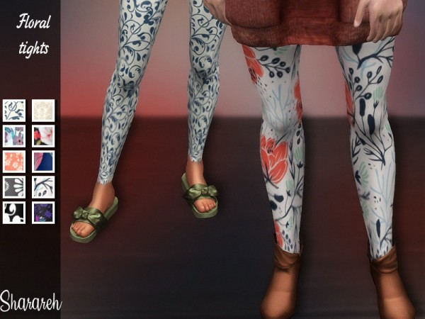 The Sims Resource: Floral tights by Sharareh