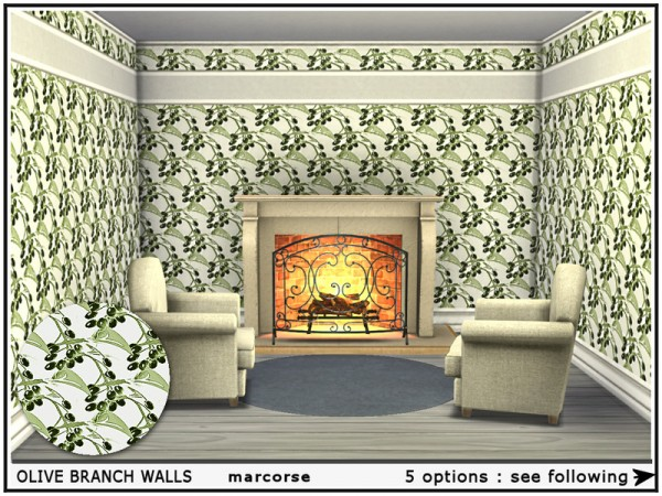 The Sims Resource: Olive Branch Walls by marcorse