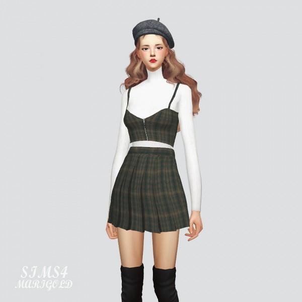 SIMS4 Marigold: Zipper Crop Top With Pleats Skirt