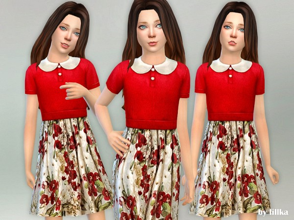 The Sims Resource: Red Floral Collared Dress by lillka
