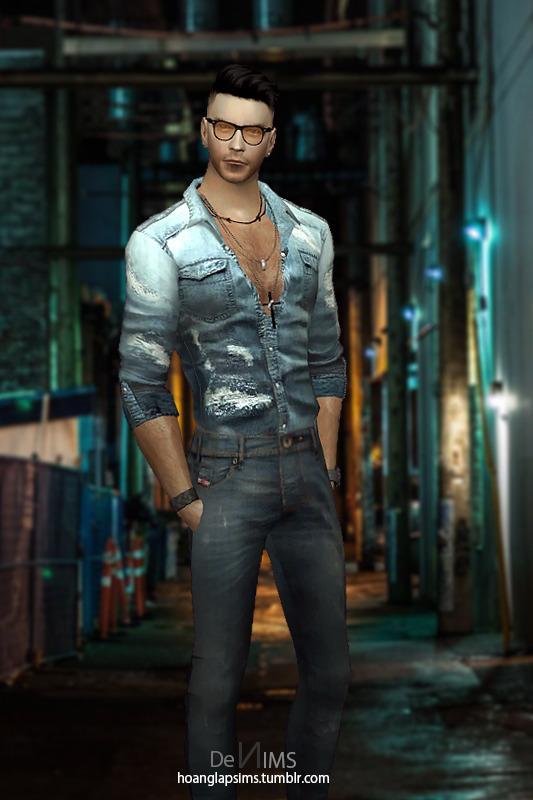 Hoanglap Sims: Washed Denim Shirt