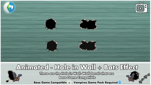 Mod The Sims: Animated   Hole in Wall and Bats Effect by Bakie