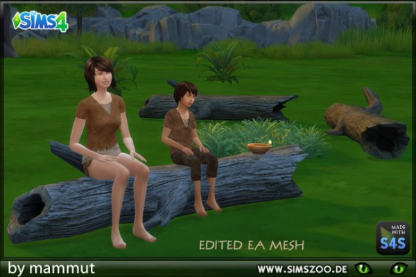 Blackys Sims 4 Zoo: Treelog Bench by mammut