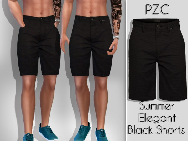 The Sims Resource: Summer Elegant Black Shorts For Him by Pinkzombiecupcakes