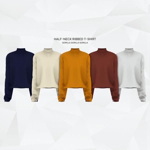 Gorilla: Half Neck Ribbed T Shirt