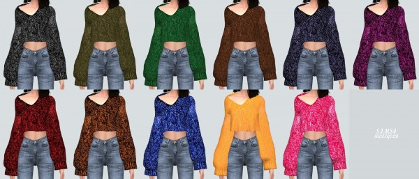 SIMS4 Marigold: V Neck Crop Sweater