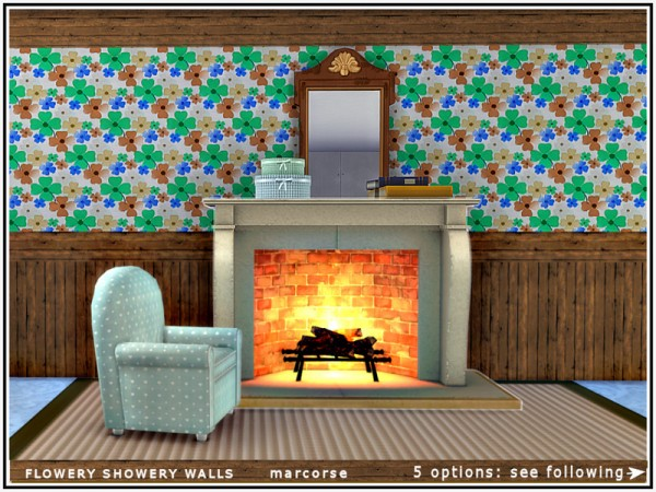 The Sims Resource: Flowery Showery Walls by marcorse