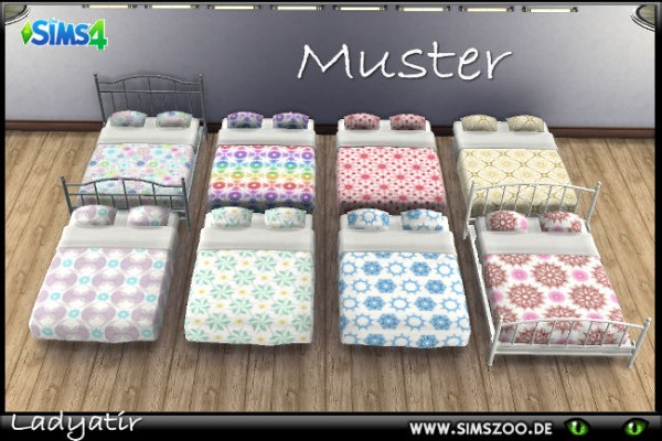 Blackys Sims 4 Zoo: Double bed linen sheets patterned by ladyatir