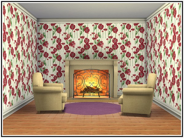 The Sims Resource: Field Poppy Walls by marcorse