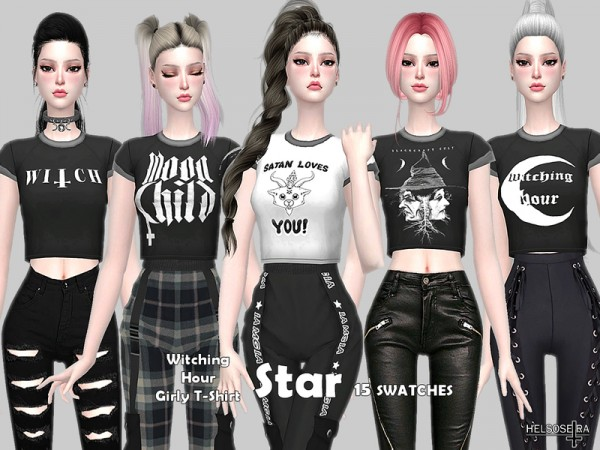 The Sims Resource: STAR   Witch Girly T Shirt by Helsoseira