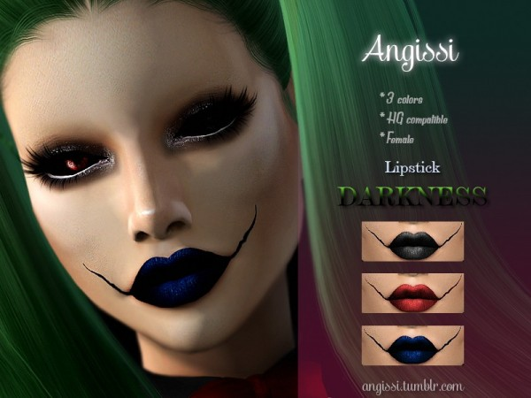 The Sims Resource: Lipstick   DARKNESS by ANGISSI