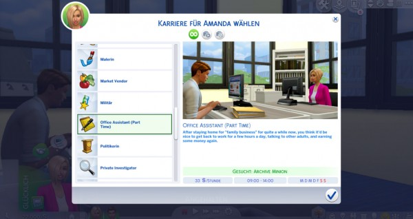 Mod The Sims: Office Assistant Career (Part Time) by Marduc Plays