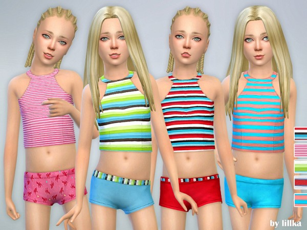 The Sims Resource: Striped Tankini for Girls by lillka