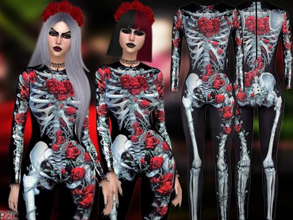 The Sims Resource: Skeleton Halloween Costume Bodysuit by Pinkzombiecupcakes