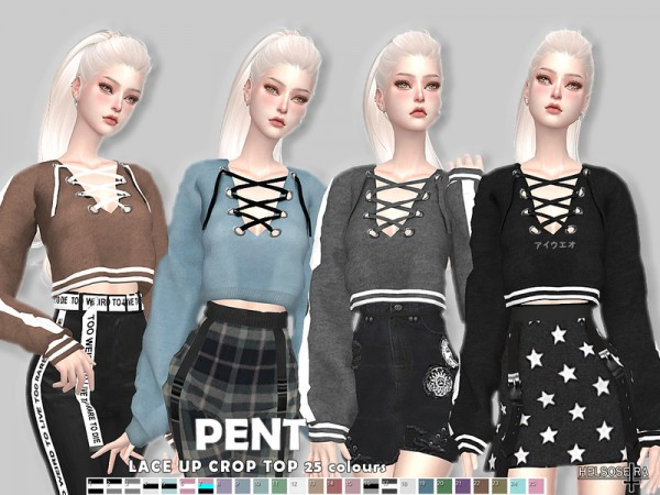 The Sims Resource: PENT   Lace up Crop Top by Helsoseira