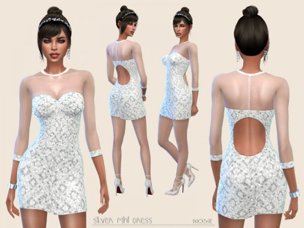 The Sims Resource: Silver Mini Dress by Paogae
