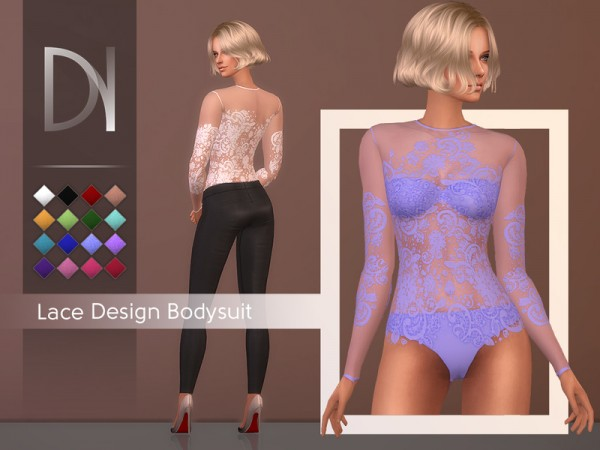 The Sims Resource: Lace Design Bodysuit by DarkNighTt
