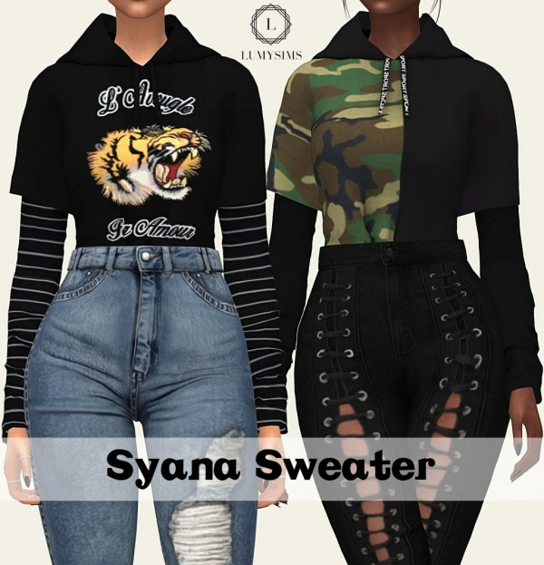 Lumysims Syana Tucked In Sweater Sims 4 Downloads