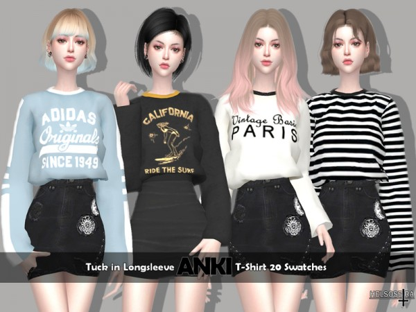 The Sims Resource: ANKI Tuck in T Shirt by Helsoseira