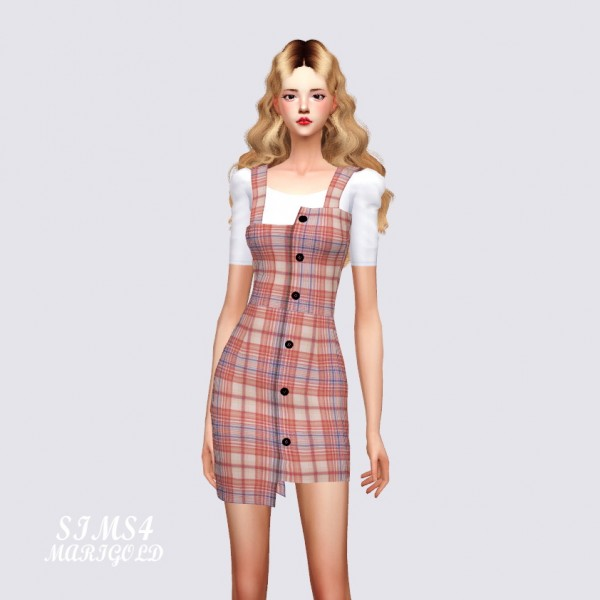 SIMS4 Marigold: Uneven Mini Dress With Top