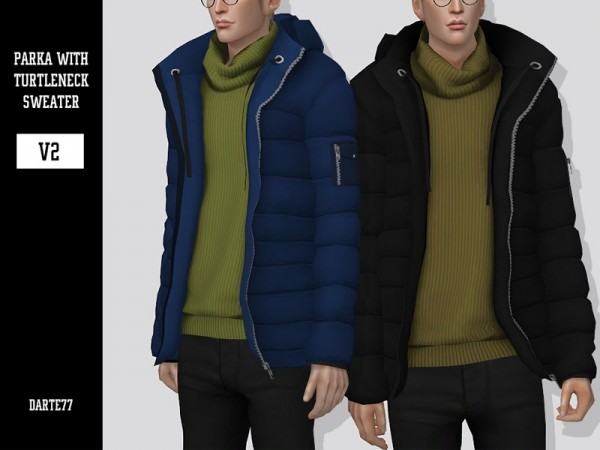 The Sims Resource: Parka with Turtleneck Sweater   V2 by Darte77