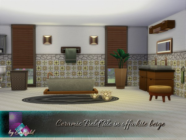 The Sims Resource: Ceramic Field Tile in offwhite beige by emerald