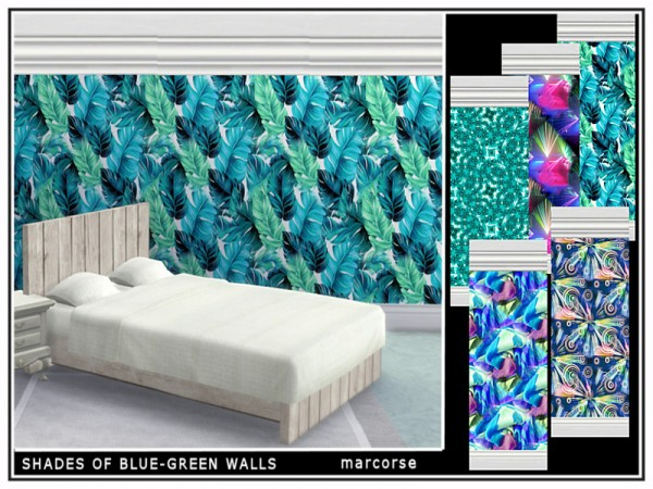 The Sims Resource: Shades of Blue/Green Walls by marcorse